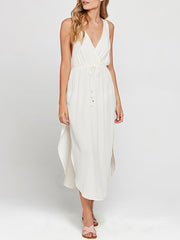 Color=White | Women'S Boho V Neck Sleeveless Long White Summer Dress-White 2
