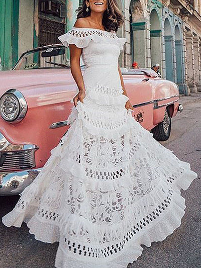 Color=White | Dainty Floor Length Off Shoulder Lace Summer Dress For Women-White 1