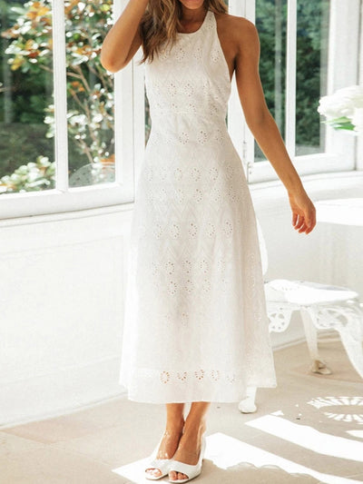 Color=White | Women'S Sexy Halter Cotton Long White Summer Dress-White 1