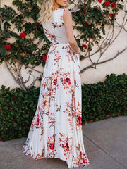 Color=White | Women' Sexy Floor Length Floral Printed Floor Length Sundress-White 2