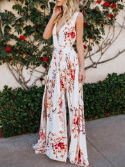 Color=White | Women' Sexy Floor Length Floral Printed Floor Length Sundress-White 3