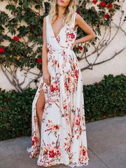 Color=White | Women' Sexy Floor Length Floral Printed Floor Length Sundress-White 4