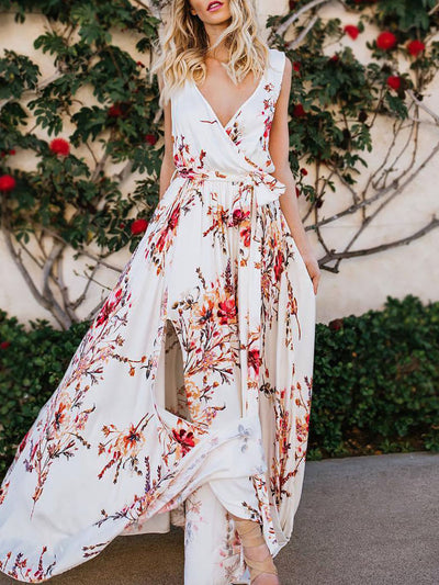 Color=White | Women' Sexy Floor Length Floral Printed Floor Length Sundress-White 1