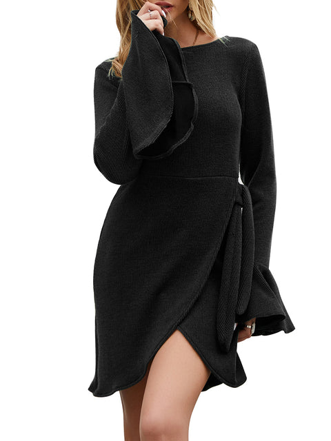 Color=Black | Fashion Bodycon Knitted Slip Dresses With Flounce Sleeves-Black 4