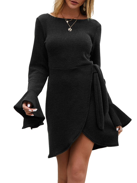 Color=Black | Fashion Bodycon Knitted Slip Dresses With Flounce Sleeves-Black 1