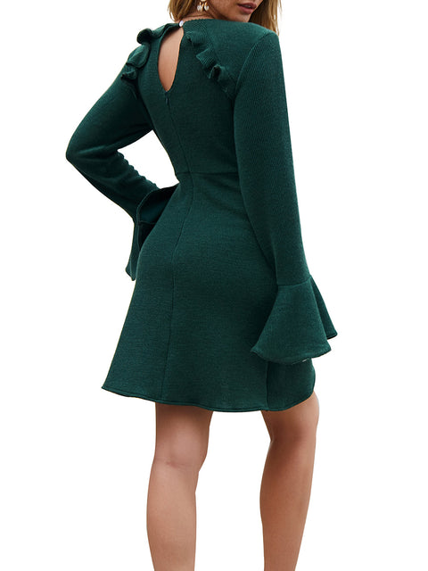 Color=Green | Fashion Bodycon Knitted Slip Dresses With Flounce Sleeves-Green 2