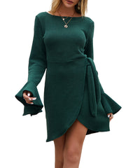 Color=Green | Fashion Bodycon Knitted Slip Dresses With Flounce Sleeves-Green 3