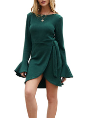 Color=Green | Fashion Bodycon Knitted Slip Dresses With Flounce Sleeves-Green 4
