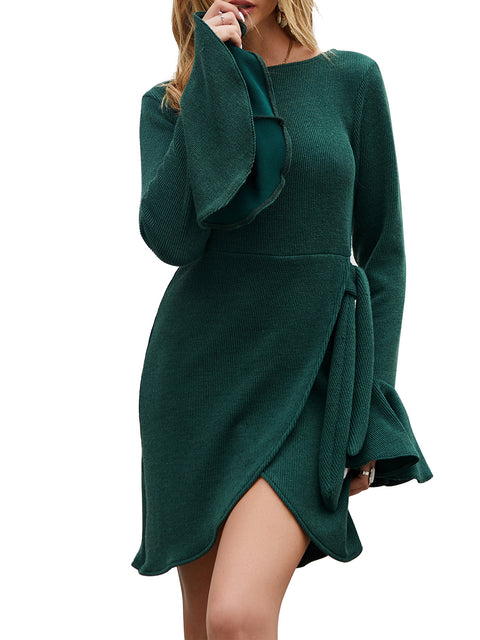 Color=Green | Fashion Bodycon Knitted Slip Dresses With Flounce Sleeves-Green 1