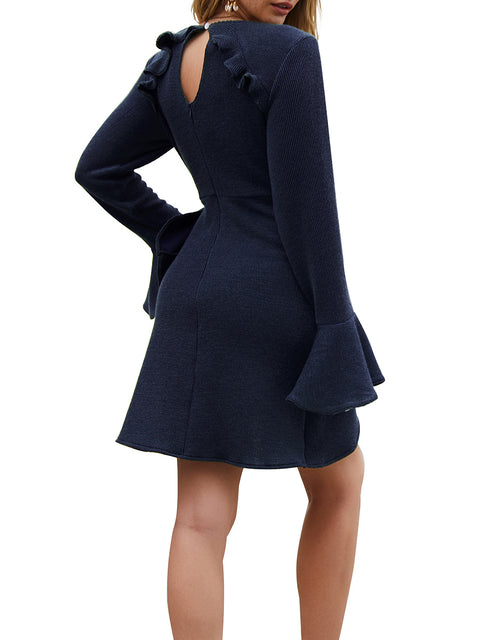 Color=Navy Blue | Fashion Bodycon Knitted Slip Dresses With Flounce Sleeves-Navy Blue 2