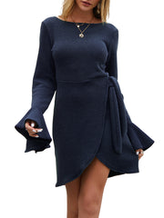 Color=Navy Blue | Fashion Bodycon Knitted Slip Dresses With Flounce Sleeves-Navy Blue 3