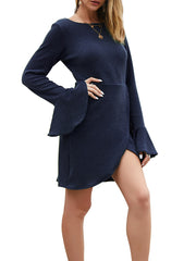Color=Navy Blue | Fashion Bodycon Knitted Slip Dresses With Flounce Sleeves-Navy Blue 4