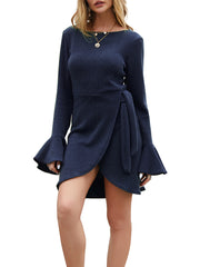 Color=Navy Blue | Fashion Bodycon Knitted Slip Dresses With Flounce Sleeves-Navy Blue 1