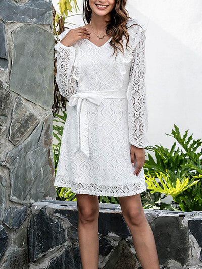Color=White | Cute V Neck Short Lace Casual Dress For Women With Long Sleeves-White 1