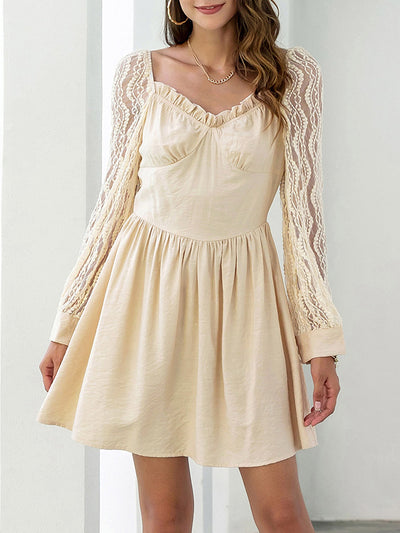 Color=Mushroom | Women'S Sexy Milkmaid Style Casual Dress With Lace Sleeves-Mushroom 1