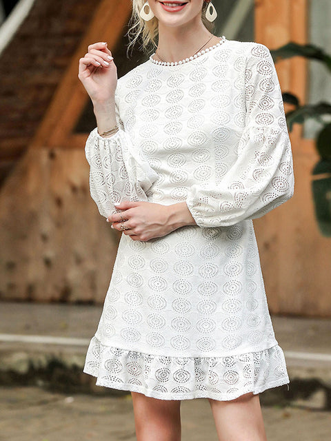 Color=White | Women'S Sexy Hollow Out Mini Casual Dress With Round Neck-White 1