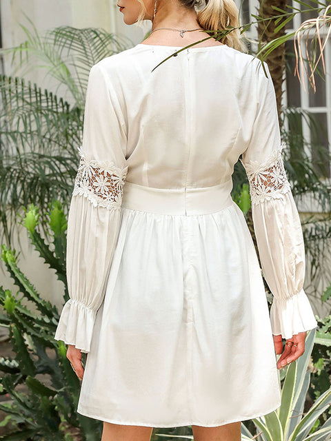 Color=White | Stunning V Neck Puff Sleeves Casual Dress With Floral Lace Waist-White 2