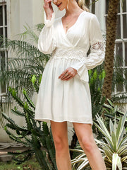 Color=White | Stunning V Neck Puff Sleeves Casual Dress With Floral Lace Waist-White 3