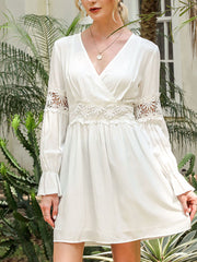 Color=White | Stunning V Neck Puff Sleeves Casual Dress With Floral Lace Waist-White 4