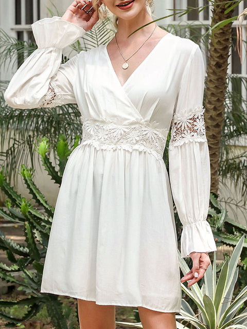 Color=White | Stunning V Neck Puff Sleeves Casual Dress With Floral Lace Waist-White 1