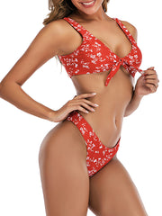 Color=Red | Fashion Cute Two-Piece Bow Bikini Bathing Suit For Women-Red 4