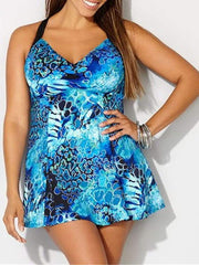 Color=Sky Blue | Fashion Printed Swimwear With Straps-Sky Blue 1