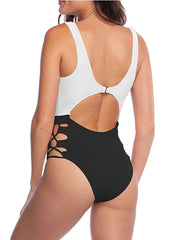 Color=Black & White | Hot Hollow One-Piece Bathing Suit Swimwear For Women-Black & White 2