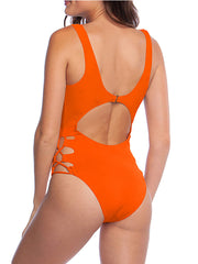 Color=Red | Hot Hollow One-Piece Bathing Suit Swimwear For Women-Red 2
