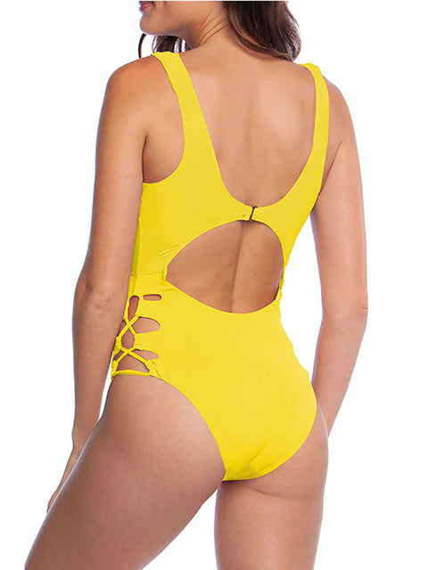 Color=Yellow | Hot Hollow One-Piece Bathing Suit Swimwear For Women-Yellow 2
