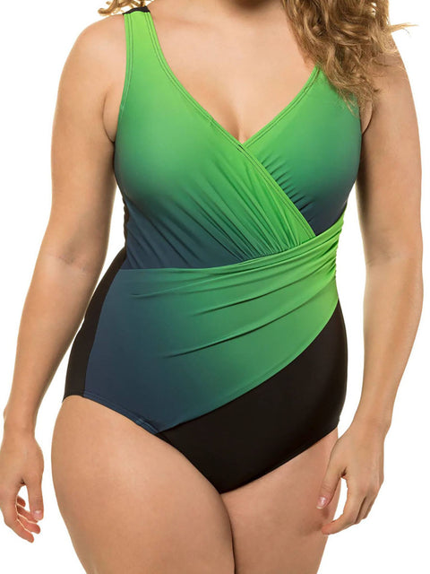 Color=Green | Women'S One-Piece Cross Design Plus Size Swimsuit-Green 1
