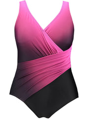 Color=Hot Pink | Women'S One-Piece Cross Design Plus Size Swimsuit-Hot Pink 2