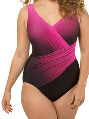 Color=Hot Pink | Women'S One-Piece Cross Design Plus Size Swimsuit-Hot Pink 1