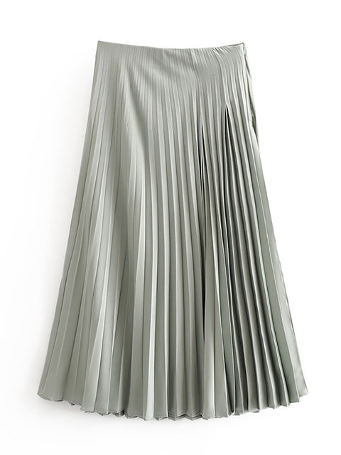 Color=Green | Chic High Waist Pleated Midi Skirt For Office Ladies-Green 2