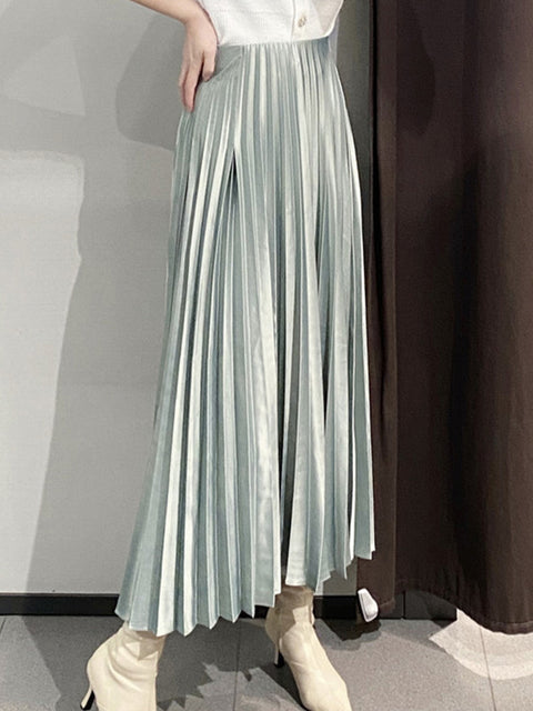 Chic High Waist Pleated Midi Skirt for Office Ladies