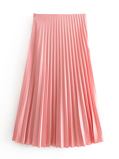Color=Pink | Chic High Waist Pleated Midi Skirt For Office Ladies-Pink 2
