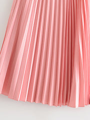 Color=Pink | Chic High Waist Pleated Midi Skirt For Office Ladies-Pink 3