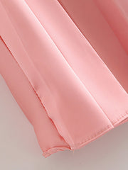 Color=Pink | Chic High Waist Pleated Midi Skirt For Office Ladies-Pink 4