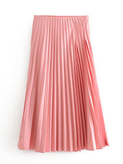 Color=Pink | Chic High Waist Pleated Midi Skirt For Office Ladies-Pink 1