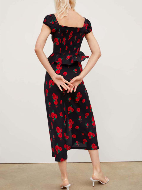 Color=Black | Sexy Chic Floral Printed High Waist Mermaid Midi Skirt-Black 2