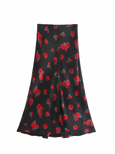 Color=Black | Sexy Chic Floral Printed High Waist Mermaid Midi Skirt-Black 3