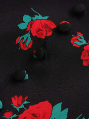Color=Black | Sexy Chic Floral Printed High Waist Mermaid Midi Skirt-Black 4