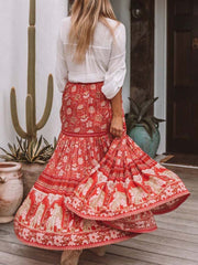 Color=Red | Bohenmian Printed Midi Skirt For Women Beach Wear-Red 2