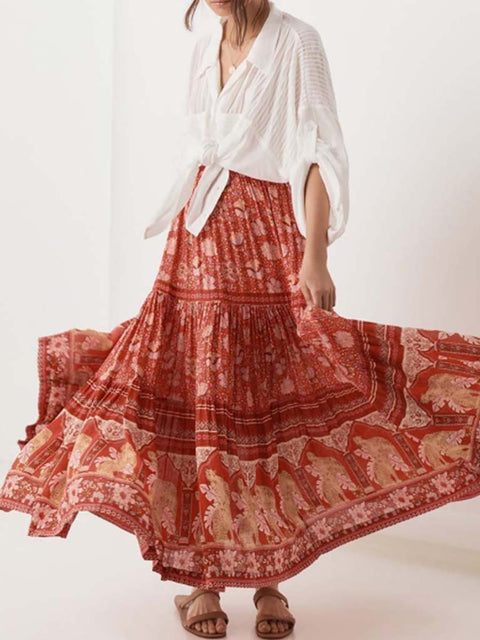 Color=Red | Bohenmian Printed Midi Skirt For Women Beach Wear-Red 3