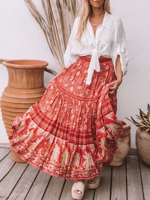 Color=Red | Bohenmian Printed Midi Skirt For Women Beach Wear-Red 1