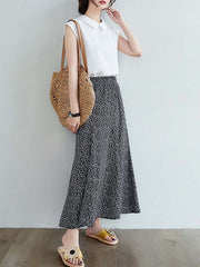 Color=Black | Casual Floral Printed Maxi Chiffon Midi Skirt For Women-Black 2
