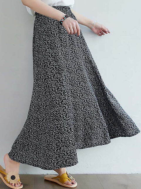 Color=Black | Casual Floral Printed Maxi Chiffon Midi Skirt For Women-Black 3