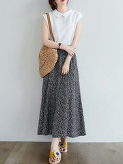 Color=Black | Casual Floral Printed Maxi Chiffon Midi Skirt For Women-Black 4