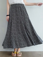 Color=Black | Casual Floral Printed Maxi Chiffon Midi Skirt For Women-Black 1