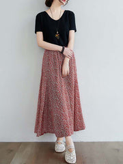 Color=Red | Casual Floral Printed Maxi Chiffon Midi Skirt For Women-Red 2