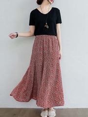 Color=Red | Casual Floral Printed Maxi Chiffon Midi Skirt For Women-Red 3